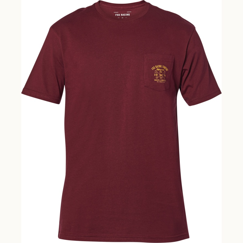 Fox Wrenched Pckt Ss Prem Tee Cranberry